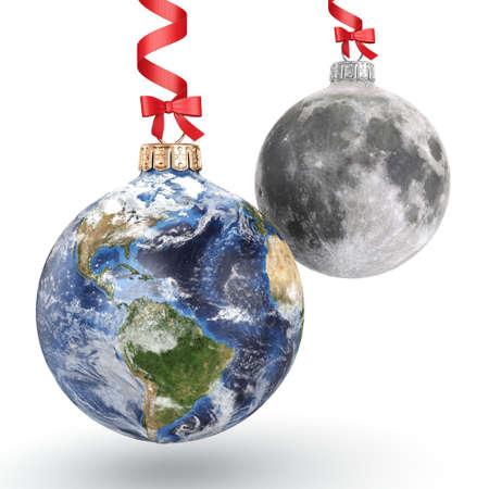 3D rendering Christmas ball in the form of planet Earth and Moon on a white background. Used NASA data.