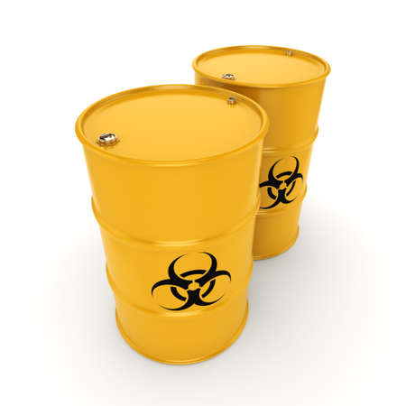 biological hazards: 3D rendering yellow barrels with biologically hazardous materials