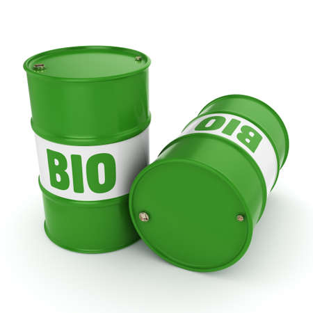 3D rendering green barrels for biofuels with lettering Stock Photo