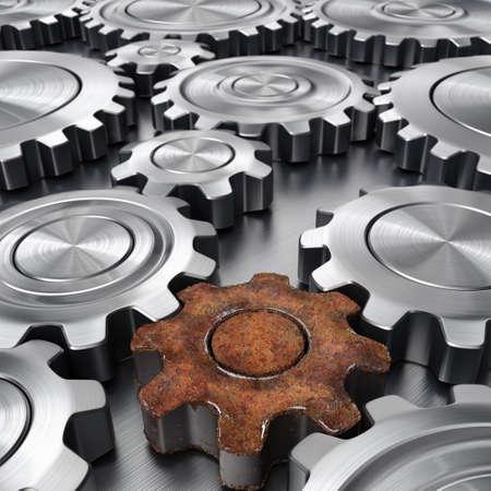 chrome: 3d rendering high quality metallic shiny gears Stock Photo