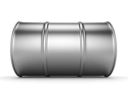 chemical material: 3D rendering aluminum barrel on a white background