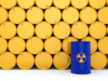 contamination: 3D rendering yellow  and blue barrels with radioactive materials