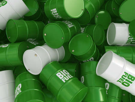 fuel storage: 3D rendering green barrels for biofuels with white lettering