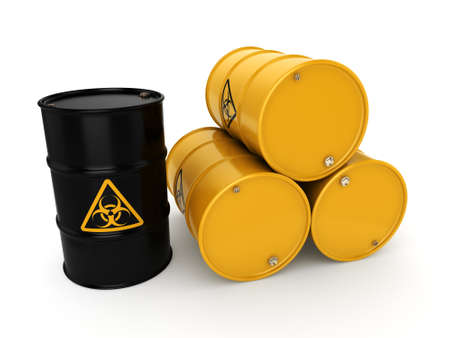 biohazard: 3D rendering yellow barrels with biologically hazardous materials