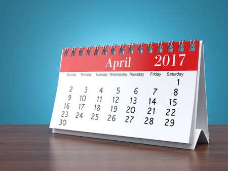 apri: 3D rendering flipchart desktop calendar for 2017 year Stock Photo