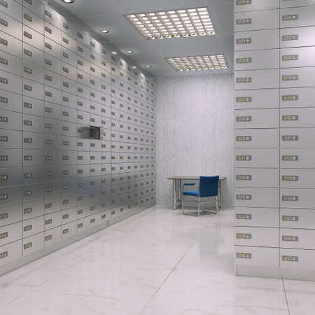 rigid: 3D rendering chrome deposit boxes in the room