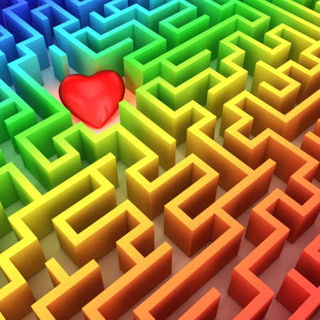 3d rendering multicolored rainbow maze with heart