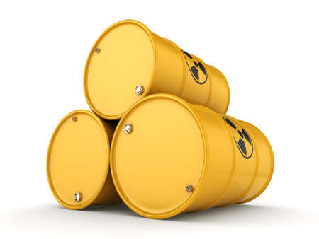 3D rendering yellow barrels with radioactive materials Banco de Imagens