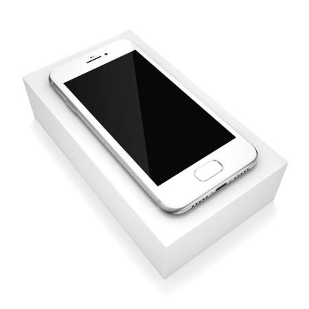 lay: 3D rendering silver smart phone with black screen isolated on white background