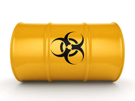 3D rendering yellow barrel with biologically hazardous materials Stock Photo