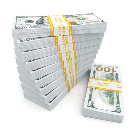 money packs: 3d rendering lots of packs of US dollars in high quality Stock Photo
