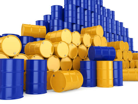 3D rendering and yellow barrels not contain any inscriptions