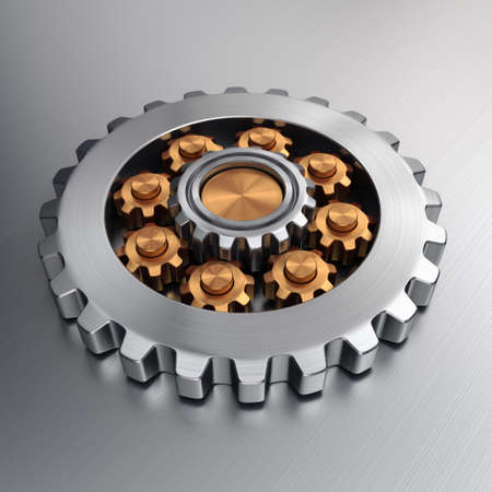 3d rendering high quality metallic shiny gears 版權商用圖片