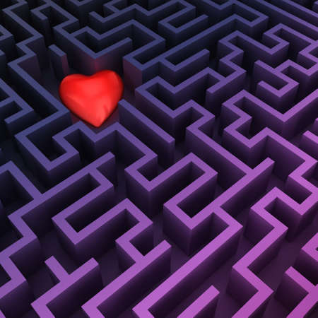 3d rendering simple purple labyrinth with red heart Stock Photo