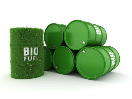 3D rendering barrels covered with green grass with biofuels