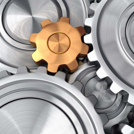 3d rendering high quality metallic shiny gears Stock Photo