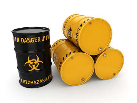 생물 학적 위험 물질로 3D 렌더링 노란색과 검은 색 배럴