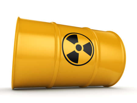 toxic substance: 3D rendering yellow barrel with radioactive materials Stock Photo