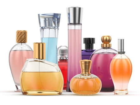 3D rendering group of perfume bottles of different colors on a white background Stok Fotoğraf