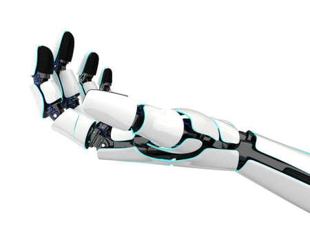 Roboterhand der Wiedergabe 3D lokalisiert auf weißem Hintergrund Standard-Bild - 83494524