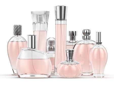 pulverizer: 3D rendering group of perfume single-colored bottles on a white background