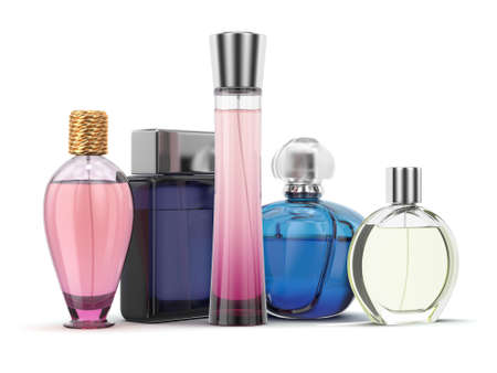 pulverizer: 3D rendering group of perfume bottles of different colors on a white background Stock Photo