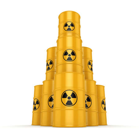 uranium: 3D rendering yellow barrels with radioactive materials Stock Photo