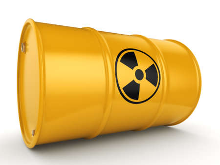 uranium: 3D rendering yellow barrel with radioactive materials Stock Photo