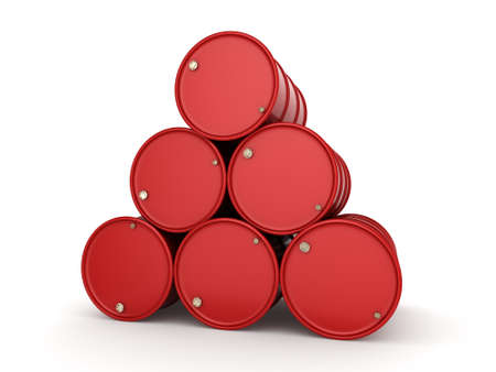 3D rendering red barrels not contain any inscriptions