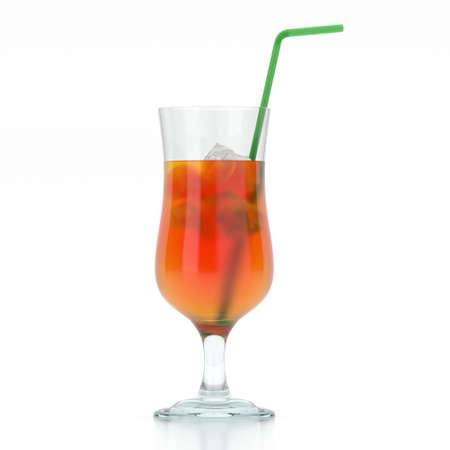 3D rendering glass with tropical cocktail and straw on white background