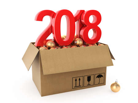 3D rendering 2018 New Year red digits with a cardboard box of golden Christmas balls