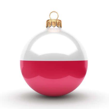 bandera de polonia: 3D rendering Christmas ball decorated with the flag of Poland Foto de archivo