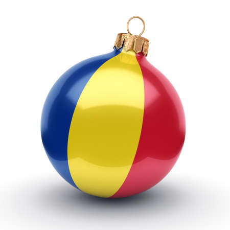 3D rendering Christmas ball decorated with the flag of Romania