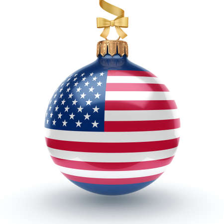 striated: 3D rendering Christmas ball decorated with the flag of USA