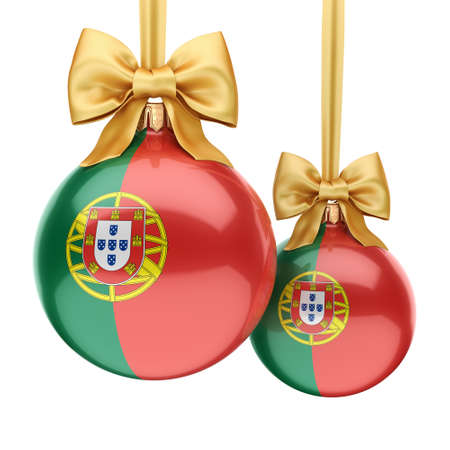 3D rendering Christmas ball decorated with the flag of Portugal Stock Photo
