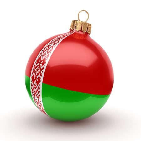3D 렌더링 벨로루시의 국기와 함께 크리스마스 공 장식