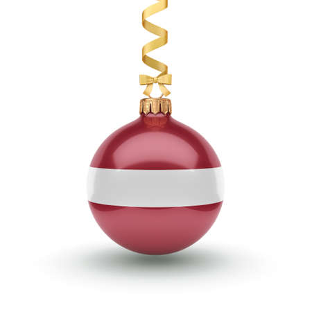 3D rendering Christmas ball decorated with the flag of Latvia