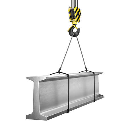 3D rendering of a crane hook with a load of metal rolled products Stock Photo