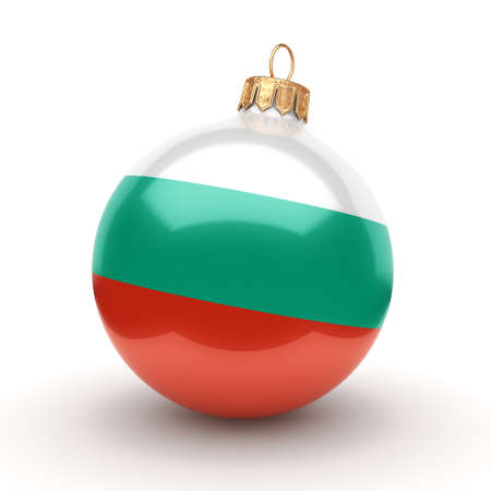 3D rendering Christmas ball decorated with the flag of Bulgaria