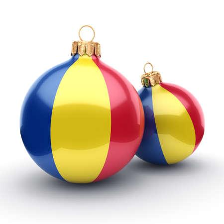 Procesamiento de 3D Bola de Navidad decorado con la bandera de Rumania
