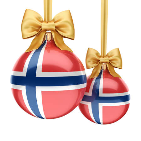 3D rendering Christmas ball decorated with the flag of Norway Stock Photo