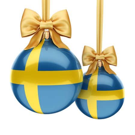 3D-rendering Kerstmis bal versierd met de vlag van Zweden