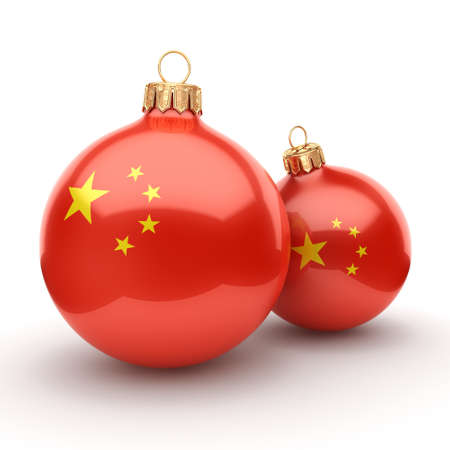 3D rendering Christmas ball decorated with the flag of China