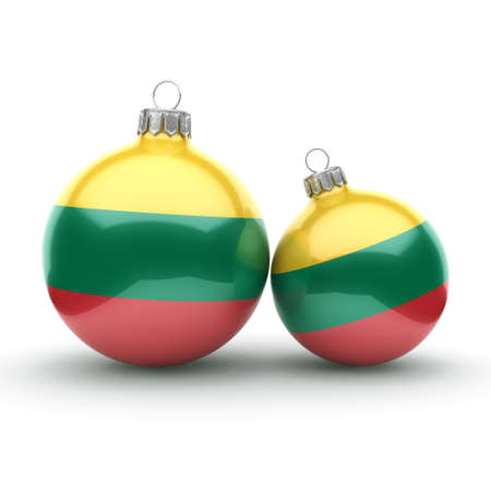 3D rendering Christmas ball decorated with the flag of Lithuania Banque d'images