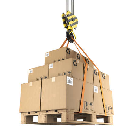 steel: 3D rendering of a crane hook with a load of cardboard boxes on a pallet