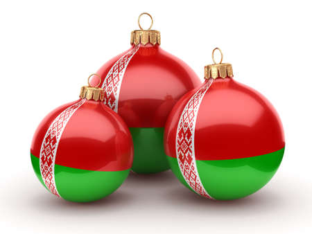 3D rendering Christmas ball decorated with the flag of Belarus Stock Photo