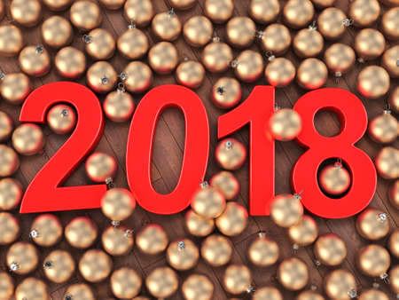 3D rendering 2018 New Year red digits and gold christmas balls lying on a wooden surface Stock Photo