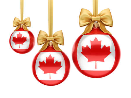 3D rendering Christmas ball decorated with the flag of Canada