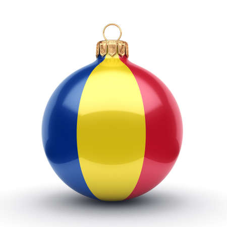 new: 3D rendering Christmas ball decorated with the flag of Romania