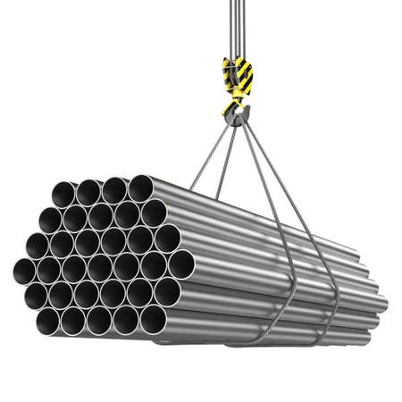 unloading: 3D rendering of a crane hook with a load of metal rolled products Stock Photo